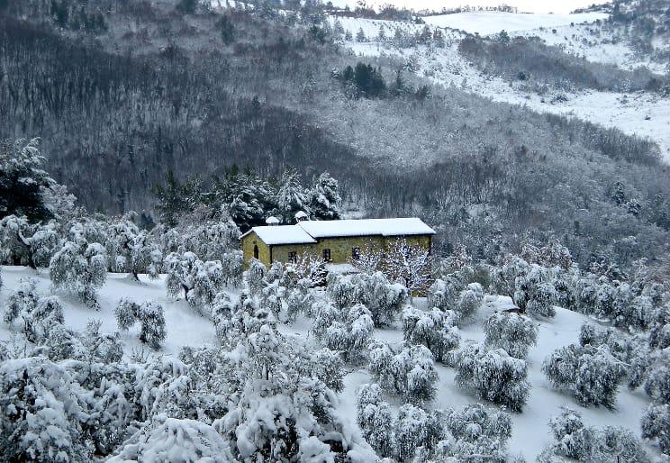 Agriturismo Bindozzino dopo una nevicata