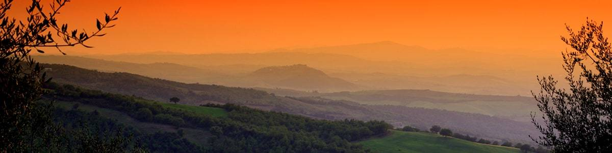 Landscape at twilight with Montenero d'Orcia in the background